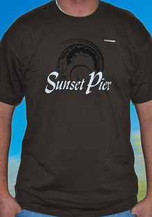 T-Shirt Sunset Pier braun